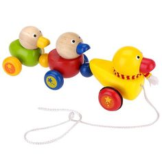 Imaginarium Pull Along Toy Wooden Duck Family Pull-along wooden toy of three cute ducks. The ducks waddle when taken for a walk. Adorable ducks in bright and fun colors. Ages 18m +.  #Imaginarium #Baby_Product