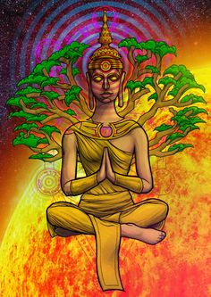 Buddha and the Tree of Life by ~awolfillustrations