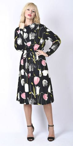 Vintage 60s 70s Black Pink Floral Tulip Print Dress MIDI Cowl Mod Boho XL | eBay