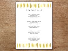 Easily create a gorgeous list of wedding guest seating arrangements. Just download the editable gold strokes themed PDF seating list, enter your text and print! Make Your Own Wedding Invitations, Wedding Invitation Sets, Wedding Thank You Cards, Wedding Guest List, Fall Wedding, Diy Wedding, Wedding Band, Seating Chart Template, List Template