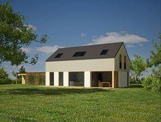 Mansardna varianta z dvokapno streho brez napušča v ometu z veliko pokrito teraso.