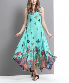 Look what I found on #zulily! Aqua Floral Paisley Scoop Neck Handkerchief Maxi Dress by Reborn Collection #zulilyfinds
