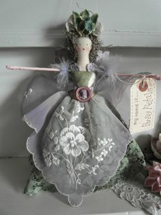 Handmade fairy - vintage fabrics and trims--Niki creates the best dolls!