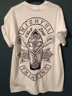 T-shirt: wishful thinking neck deep merch shirt top white black black and white band bands
