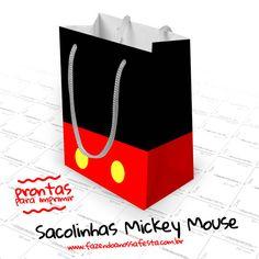 Baixe de graça a Sacolinha Surpresa Mickey Mouse, imprima e use na sua festa com o tema para colocar os doces e guloseimas de lembrancinha, clique e confira