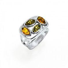 Inel din Argint cu Ambra - Marimea 7 - Bocane