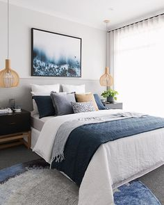 65 stunning white master bedroom ideas match for any home design 2019 page 23 bedroom makeover Romantic Bedroom Decor, Home Decor Bedroom, Bedroom Furniture, Artwork For Bedroom, Diy Bedroom, Beach House Bedroom, Bedding Master Bedroom, Blue Home Decor, House Furniture
