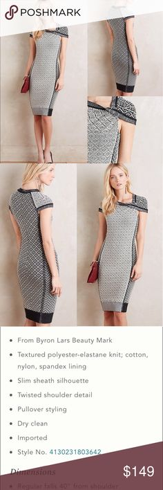 $348 Anthropologie Byron Lars Josette dress This beautiful curve hugging dress is in Flawless EXCELLENT pre-loved condition. By Byron Lars Beauty Mark Anthropologie Dresses