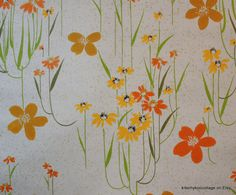 1970's Vintage Wallpaper Orange and Yellow long stem daisy flowers
