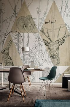 - Wall&Decò has presented new contemporary wallpaper collection. From charcoal drawing to wall painting, from fab Deco Design, Wall Design, House Design, Interior Walls, Home Interior Design, Contemporary Wallpaper, Home And Deco, Wall Wallpaper, Graphic Wallpaper