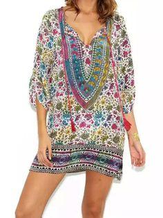Multicolor Tie-neck Floral Loose Dress 20.33