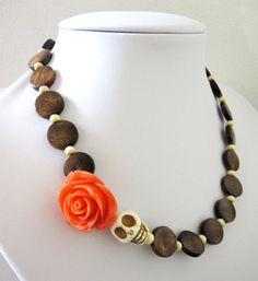 Sugar Skull Necklace Day of the Dead Jewelry