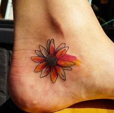 Watercolor Sunflower Tattoo on Ankle by Nora Pruyser