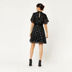 Warehouse, SOFT LUREX JACQUARD DRESS Black 3
