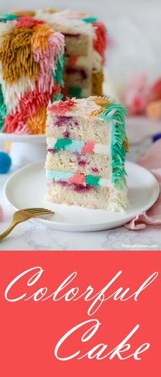 An ultra moist cake filled with fresh raspberries and a buttercream frosting that looks like a colorful Shag Rug #cake #bestcakes #birthdaycakes #colorfulcake #desserts #recipes #raspberries