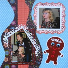 Christmas scrapbook page with a Gingerbread man from Cricut's Paper Trimmings - from Christmas Album 4
