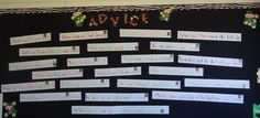 """""""Jungle Survival 101""""--Students from the previous year wrote a key piece of advice on a sentence strip."""