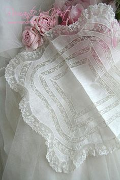Beautiful Hankie with French Lace Insertion and Edging ~