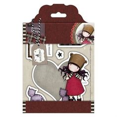 Gorjuss Santoro Tweed - Purrrrfect Love rubber stamp