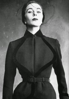 Bettina in suit edged in velvet by Robert Piguet, photo by Irving Penn, American Vogue, September 1950