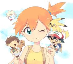 Too cute. Misty with chibi versions of Ash,Brock, Pikachu, Togepi and Vulpix!