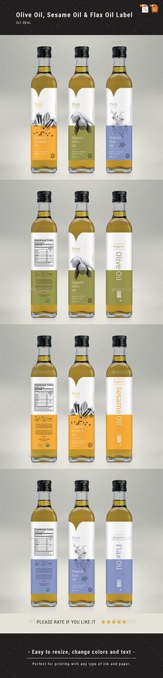 Olive Oil, Sesame Oil & Flax Oil Label - Packaging Print Templates