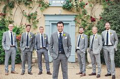 Groomsmen in Grey Suits | Blue & Yellow Themed Wedding at South Farm in Cambridgeshire | Sunflower bouquet | Photography by Bea | http://www.rockmywedding.co.uk/katie-mike/