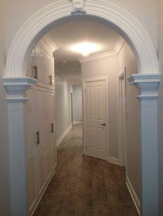 Victorian style Entry Arch Gemini silver paint Gloss white linen Silver Paint, Victorian Fashion, Gemini, Arch, House Ideas, Bathtub, Flooring, Painting, Home