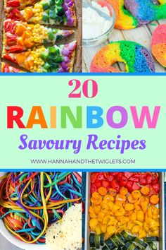 It's super easy to find recipes for rainbow sweet treats. But what about savoury food? Here are 20 gorgeous rainbow savoury recipes! Rainbow Birthday Foods, Birthday Party Meals, Rainbow Bread, Rainbow Food, Dinner Party Recipes, Dinner Themes, Fun Cooking, Cooking With Kids, Dinners For Kids