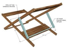 Folding adult sized wood sling chair, also known as wood beach chairs or deck chairs. Folds flat for storage, opens up for easy relaxation! Adjusts to three positions for customized reclining. Child sized plans also available. Wooden Beach Chairs, Wooden Folding Chairs, Folding Beach Chair, Metal Dining Chairs, Kitchen Chairs, Dining Room, Wooden Decks, Wooden Diy, Diy Wood