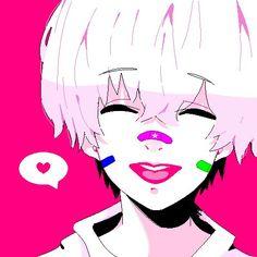 Kaneki with lipstick? Chibi Tokyo Ghoul, Ken Tokyo Ghoul, Kaneki, Anime Manga, Anime Guys, Steven Universe, Oc Drawings, Tumblr Art, Pink Painting
