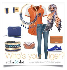 """""""Tigers"""" by paulinhag on Polyvore featuring Majestic, Frame Denim, Stella & Dot and NIKE"""