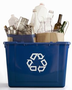 The environmental benefits of recycling plastic, aluminum, steel, cardboard, steel and glass.