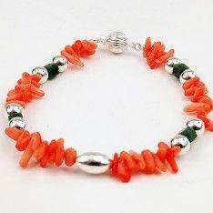 Pulsera de Coral con Jade y Plata » Joyería   Arte   Diseño