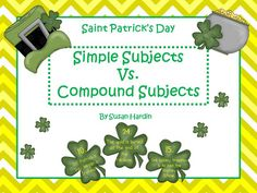 Susan Hardin's Saint Patrick's Day Simple Subject vs. Compound Subject Freebie