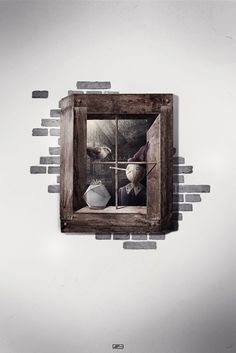 'The window' created for slashTHREE Exhibition Dark Fantasy, Fantasy Art, Wooden Puppet, Through The Window, Illustrators, Book Art, Design Art, Fairy Tales, Contemporary Art