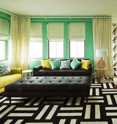 Novogratz use of FLOR tiles; don't like the green, but love the room design.