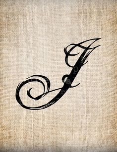 Antique Letter J Script Monogram Digital Download for Dictionary Pages, Papercrafts, Transfer, Pillows, etc.Burlap No 7531