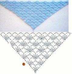 Crochet Scarf Diagram, Crochet Poncho Patterns, Crochet Shawls And Wraps, Crochet Motifs, Crochet Chart, Crochet Scarves, Crochet Stitches, Free Crochet, Crochet Triangle Scarf