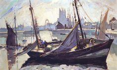 Robert Antoine Pinchon, 1930, Barques, Fécamp, oil on canvas, 98 x 63 cm.jpg