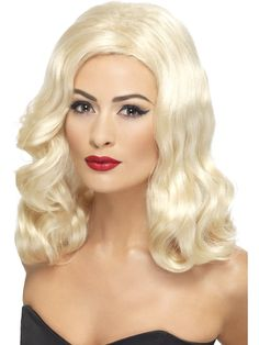 Smiffys Women's Mid Length Blonde Wig with Waves, One Size, Luscious Long Wig, 5020570424612 Best Halloween Costumes & Dresses USA Blonde Waves, Blonde Wig, Mid Length Blonde, 1920s Long Hair, Fancy Dress Wigs, Halloween Wigs, Adult Halloween, Carnival, Adult Costumes