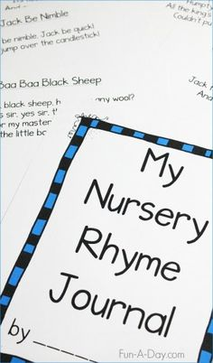 Free printable preschool nursery rhymes journal for kids. Work on early literacy development with nursery rhymes and hands-on activities.
