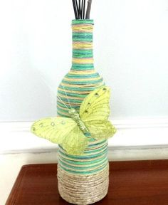 Colorful Hand Wrapped Jute Butterfly Vase by YoursTrulli on Etsy