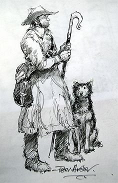 Shepherd and his dog, Higher Brixham by Peter Archer Archer, Saints, Mary, Dogs, Sterling Archer, Pet Dogs, Doggies