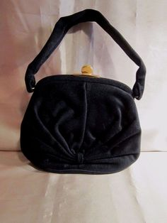 f622e0c2349c BLACK FELT HANDBAG from BAGS by DORIAN - Gathered Knot Design