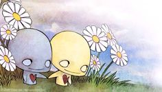 Pon and Zi in flowers