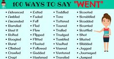 The list below provides 100 useful words to use instead of WENT in English. Learn these synonyms for Went to improve and enhance your vocabulary words in English. Writing Words, Writing Skills, Essay Writing, Writing A Book, Writing Tips, English Grammar Rules, English Words, English Vocabulary, Words To Use