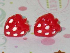 Red Strawberry Stud Earrings Lolita Cute Kawaii by DIYArtMart