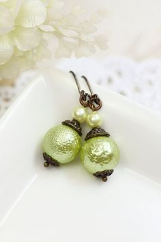 Lime Green Pearl Earrings Drops Glass Pearl by TrinketHouse