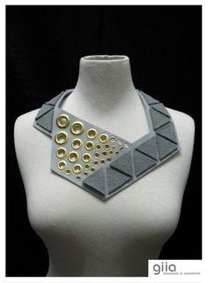 MARIANNE Trien Bib Statement Necklace in Grey shades